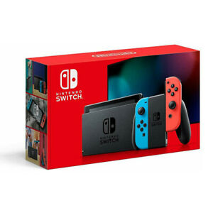 Nintendo Switch 32GB Neon Red and Neon Blue Joy-Con Bundle With Games