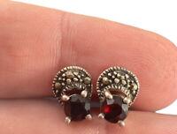 LH Sterling Silver Marcasite & Garnet Post Earrings Fine Pierced Pronged