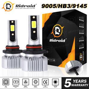 2pcs Noiseless HB3 9005 LED Headlight Bulbs Conversion Kit High Beam 6000K White