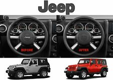 Flat Black Jeep Logo Steering Wheel Decal Overlay For 2011-2017 Wrangler New USA