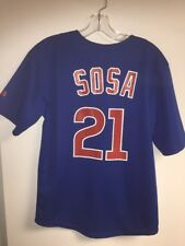 Chicago Cubs Sammy Sosa jersey blue Majestic Large Youth 14-16, Ladies
