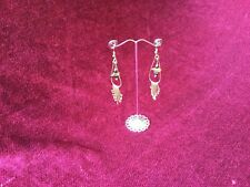Vintage Tribal Earrings Handmade Mexico Copper Drop Dangle Semi Precious Stones