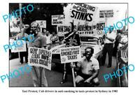 OLD LARGE PHOTO SYDNEY TAXI DRIVERS PROTEST MARCH c1982 'NO SMOKING'
