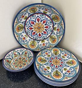 Lakeland Amalfi Melamine Dinner Plate Bowls Salad Bowl Blue Floral 9 Piece Set