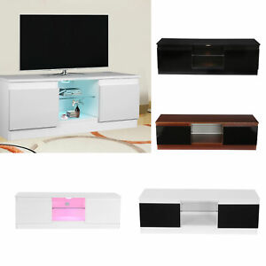 120cm TV Unit Cabinet Modern with LED Lights Drawers Stand High Gloss Doors UK