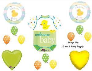 DUCK GREEN WELCOME BABY SHOWER BALLOONS Decorations Supplies Neutral Onesie