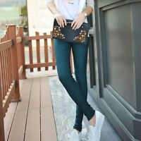 Women's Skinny Girl's Stretchy SEXY Leggings Regular Blue Dark Red