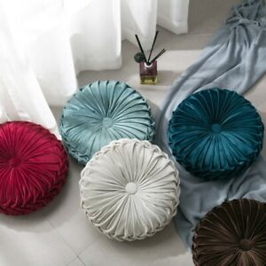 Pleated Velvet Round Pumpkin Throw Pillows Couch Cushion Pillow Home Room Decor