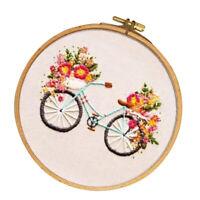 Handmade Embroidery Kits with Hoop Cartoon Bike Pattern Needlework Crafts