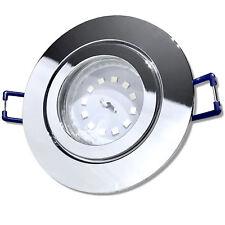 LED Bad Einbaustrahler   230V   5W   Flaches LED Modul   Dimmbar   Chrom   3000k