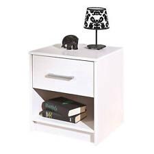 Nachtkommode Nachttisch Kiefer massiv Schlafzimmerkommode Schublade weiß silber
