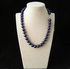 10mm Genuine Blue South Sea Shell Pearl Round Beaded Necklace 18""