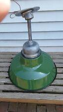 """Vtg 16"""" Industrial Enamel & Porcelain Shop Light w/Globe Service Station, Garage"""