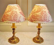 SUPERBE PAIRE LAMPES ANCIENNES ABAT-JOURS TOILE DE JOUY LAURA ASHLEY PAIR LAMPS