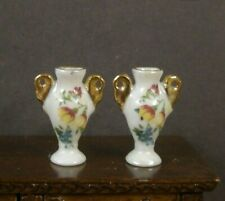 PAIR  OF  PORCELAIN  VASES   ~Dollhouse~ England ~ Marked ~ 1:12 scale ~Room Box