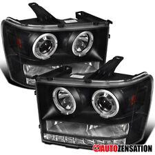 For 2007-2013 GMC Sierra 1500 2500 3500HD Black LED Signal Projector Headlights