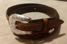 Tony Lama Women's Brown Leather Silvertone Heart Concho Belt, Sz 36