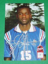 FOOTBALL CPA COCA COLA 1996-1997 FRANCE BLEUS DEDICACE LILIAN THURAM