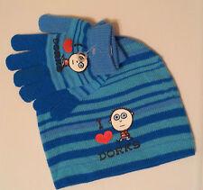 "Beanie Hat & Glove Set One Size ""I Heart Dorks"" Blue Teal Striped Acrylic Girls"