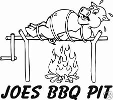 """BBQ Pork Pig Barbecue BBQ Restaurant Personalized Sign Decal 10.6"""" Sticker"""