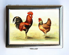 Rooster Leghorns Cigarette Case Wallet Business Card Holder id case chickens