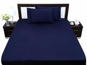 1000 Thread Count 4PCs Sheet Set Twin Full Queen King Size Navy Blue Stripe