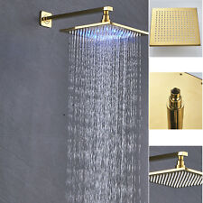 Gold LED 8'' Square Rain Shower Head Bathroom Faucet Wall Mount Shower Arm Brass