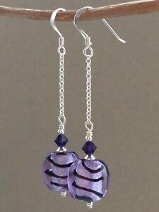 Violet & Silver Foil Stripe Glass & Swarovski Crystals Sterling Silver Earrings