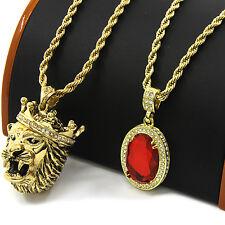"Mens Gold Crowned Lion & Red Ruby Bundle Set Pendant Hip Hop 30"" Rope Chain D852"