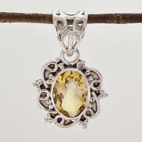 glanzvoller Citrin 925 Sterling Silber gelb Anhänger echte Jaipur de Geschenk
