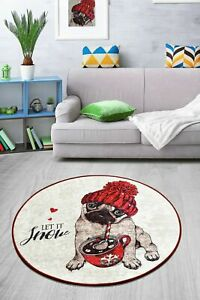 Non-slip Circle Rugs living room 100cm Round Mat Washable LET IT SNOW XMAS Gift