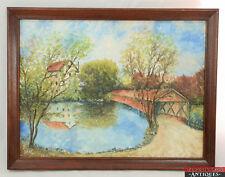 ORIGINAL Oil Folk Art Painting Framed Summer Covered Bridge Lake Signed Clark