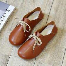 Fashion Women Flats Shoes Lace Up Comfort Shoes Casual Leather Oxfords Loafers