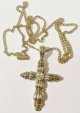 pendentif chaine rétro croix cristal travaillé couleur rodhié or argent 4150