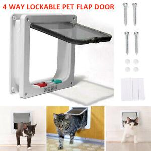 4Way Locking Door Large Cats Small Dogs Pet Dog Cat Lockable Flap Doors White wo