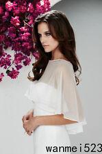 Chiffon Bridal Wraps Wedding Jacket Cape Shrug Shawl Plus Size 2 4 6 8 10 12 14+