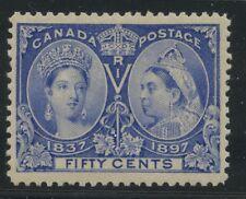 Canada 1897 QV Jubilee 50c deep ultramarine variety #60i VF mlh