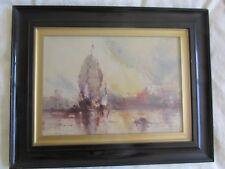 Antique Water Colour Seascape Sundown British Australian ? Artist E Newton