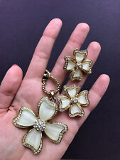 Gold Four Leaf Clover Flower Necklace + Stud Crystal Matte Glass Earrings Set
