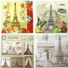1 Paquet 20 Mouchoir Serviette Papier Souvenir Paris France Tour Eiffel 17,5 cm