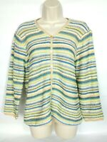 Talbots Women's Cardigan Sweater Size Medium Blue Green White Yellow Striped