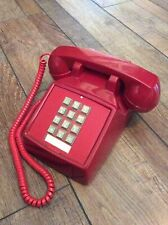 Vintage Red Cortelco Desk Phone - Touch Tone Push Button