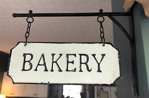 Vintage Style Hanging Metal Bakery Shop Sign-Rustic Farmhouse Kitchen Restaurant