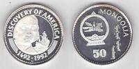 MONGOLIA RARE SILVER PROOF 50 TOGROG COIN 1992 YEAR KM#57 SHIP COLUMBUS