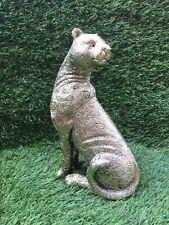 More details for polyresin golden panther jaguar figurine 20cm high