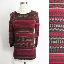 Forever 21 size SMALL red brown geometric fair isle print knit sweater shirt top
