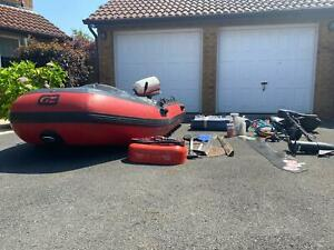 Inflatable boat rib with 6hp outboard engine and electric motor and accessories