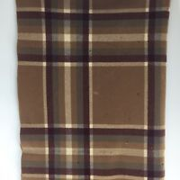 "VTG Pendleton Brown Red Plaid Wool Fringe Throw Blanket Heavyweight 44""x54"" A8B"