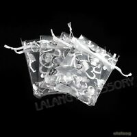 50x Hotsale Charms White Heart Organza Wedding Favours/XMAS Gift Bag 7x9cm LC