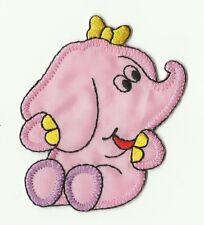 écusson ECUSSON PATCHE PATCH ENFANT THERMOCOLLANT ELEPHANT ROSE 7 X 6 CM